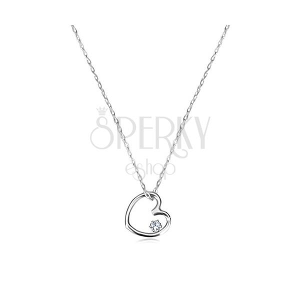 1366875d1 Diamantový náhrdelník z bílého zlata 585 - kontura srdce s briliantem ...