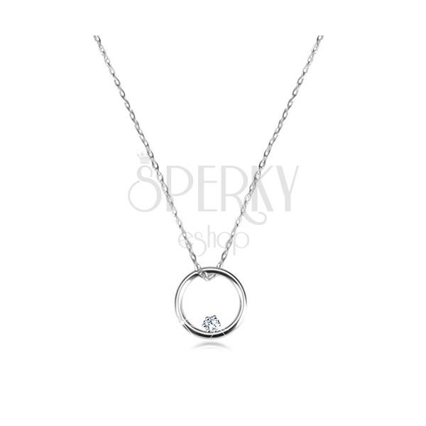 9a5305551 Diamantový náhrdelník v bílém zlatě 585 - lesklý kroužek s briliantem ...