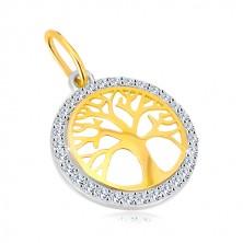 Přívěsek v kombinovaném 14K zlatě - kruh se stromem života, blýskavé zirkony