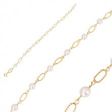 Náramek ve žlutém zlatě 585 - bílé kulaté perly, oválná očka se zářezy