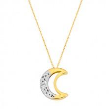 Náhrdelník ve 14K zlatě - oboustranný ornamentální půlměsíc s výřezem