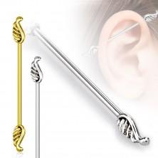 Piercing do tragu ucha z oceli 316L - andělská křídla, 1,2 mm