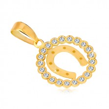 Přívěsek ze žlutého 14K zlata - zirkonový kruh a podkova pro štěstí
