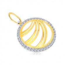 Zlatý přívěsek 585 - zdvojené linie v zirkonovém prstenci z bílého zlata