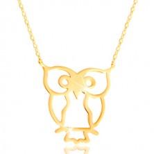 Náhrdelník ze žlutého zlata 585 - sova symbol moudrosti, lesklý tenký řetízek