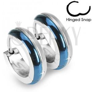 Kruhové ocelové náušnice - kombinace modré a stříbrné barvy