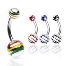 Piercing do pupíku kulička s barevnými pásky