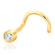 195901ef364d Zahnutý piercing do nosu ze žlutého zlata 585 - čirý blýskavý zirkon v  objímce