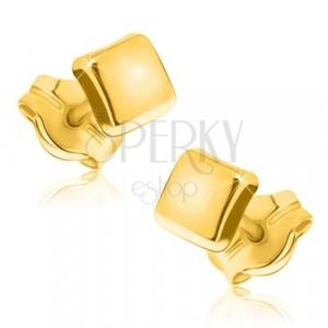 Zlaté náušnice 375 - jednoduchý čtverec se zrcadlově lesklým povrchem
