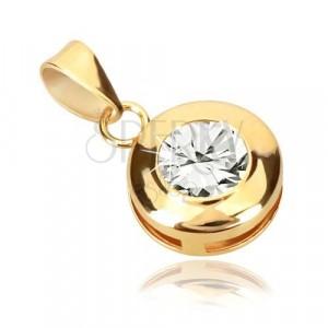 Přívěsek ve žlutém 9K zlatě - kroužek s výřezy, třpytivý kulatý zirkon