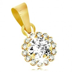 976b1d18b896 Přívěsek ze žlutého 9K zlata - čirý třpytivý zirkonový kvítek