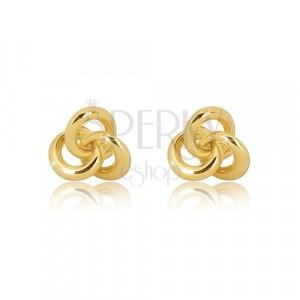 Náušnice ze žlutého zlata 375 - uzel tvořený třemi lesklými kroužky
