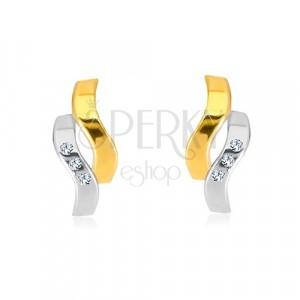 Náušnice v kombinovaném 14K zlatě - dvě zvlněné linie, drobné zirkony