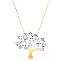 Náhrdelník v kombinovaném 14K zlatě - strom života se srdíčkovitými lístky GG15.48