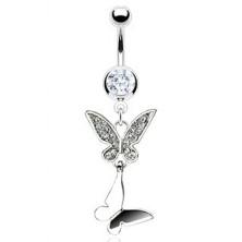 Piercing do pupíku dvojitý motýl se zirkony