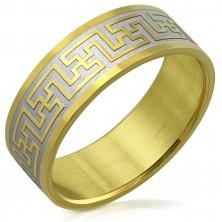 Prsten z chirurgické oceli s dvoubarevným motivem řeckého klíče, 8 mm