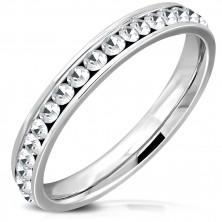 Ocelový prsten stříbrné barvy - třpytivé kulaté zirkony čiré barvy, 3,5 mm