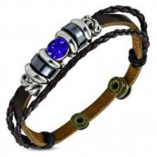 Náramek ze syntetické kůže - pás a dva úzké pletence, modrý zirkon, korálky