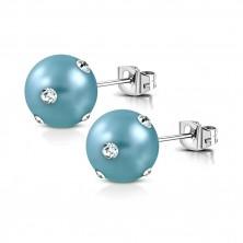Ocelové náušnice - matná umělá perla v tyrkysovém odstínu, čiré zirkonky