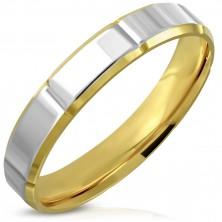 Prsten z chirurgické oceli - dvoubarevný povrch, zkosené hrany, zářezy, 4 mm