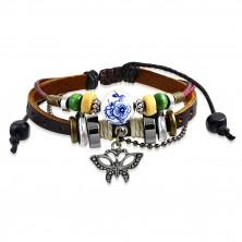 Nastavitelný multinarámek - kožený pás, přívěsek ve tvaru motýla, šňůrky, korálky