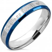 """Prsten z oceli - nápis """"Endless Love"""" a srdíčka, jemně seříznuté hrany, 5 mm"""