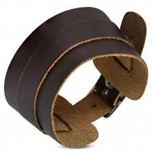 Náramek z pravé kůže - širší a užší tmavohnědý pás, zapínání na přezku