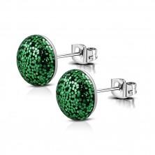 Náušnice z oceli - kroužek posetý třpytkami zelené barvy, puzetové zapínání