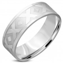 "Prsten stříbrné barvy z chirurgické oceli - motiv ""X"", kosočtverce, 8 mm"