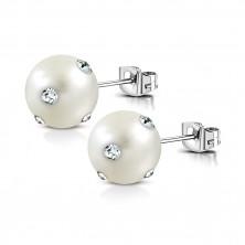 Ocelové náušnice - bílá syntetická perla, čiré blýskavé zirkony, puzetky