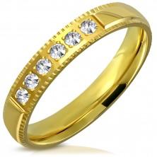 Prsten z oceli ve zlatém barevném odstínu - ozdobné hrany, šest zirkonků, 4 mm