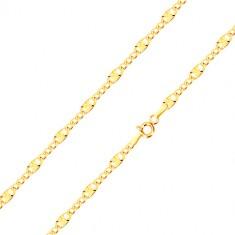 Řetízek ve žlutém 14K zlatě - tři oválná očka, očko s paprskovitými zářezy, 450 mm