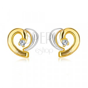 Diamantové náušnice v kombinovaném zlatě 585 - asymetrické srdíčko s briliantem