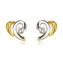 Náušnice v kombinovaném 14K zlatě - dvoubarevné obloučky s briliantem