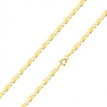 Řetízek ze 14K zlata - oválné očko, podlouhlé očko s obdélníkem a mřížkou, 450 mm