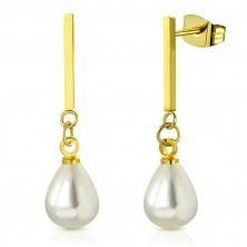 Ocelové náušnice zlaté barvy - lesklá tyčinka s oválnou syntetickou perlou