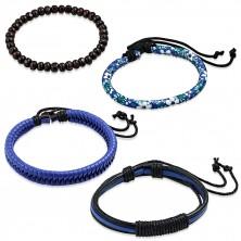 Set čtyř náramků - tmavomodrý pletenec, tři úzké pásy, motiv květů, kuličky