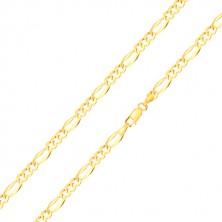 Řetízek ve žlutém zlatě 585 s motivem Figaro - tři oválná očka, podlouhlé očko, 500 mm