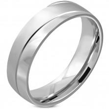 Prsten z chirurgické oceli - matný vlnitý pás, zrcadlově lesklé oblouky, 6 mm