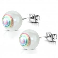 Náušnice z chirurgické oceli - umělá perla, spirála v duhových barvách, puzetky