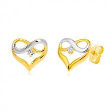 Briliantové náušnice z kombinovaného zlata 585 - kontura srdce, symbol nekonečna