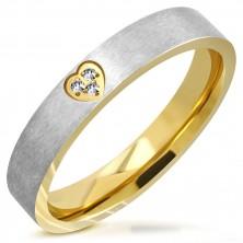 Dvoubarevný prsten z oceli - matný pás, srdíčkový výřez se zirkony, 4 mm