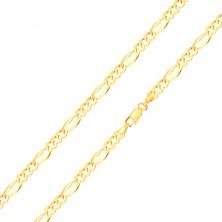 Řetízek ze žlutého zlata 585 - tři oválná očka, podlouhlé očko, rozšířené okraje, 550 mm