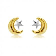 Náušnice v kombinovaném zlatě 585 - půlměsíček a hvězda, puzetové zapínání