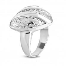 Ocelový prsten - symetrické srdce s drobnými zářezy, lesklé pásy a spirála