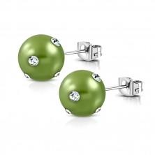 Ocelové náušnice - syntetická akrylová perla ve světle zeleném odstínu, zirkony