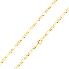 Zlatý řetízek 585 - motiv Figaro, podlouhlé očko a tři oválná očka, 550 mm