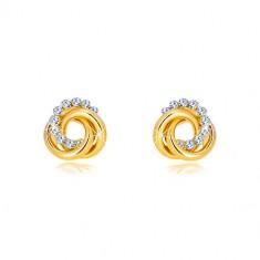 Náušnice ve žlutém 14K zlatě - dva prstence a zirkonový kruh, puzetky