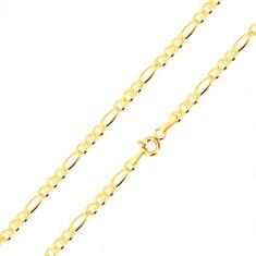 Zlatý 14K řetízek, vzor Figaro - tři oválná očka s tyčinkou, podlouhlé očko, 450 mm