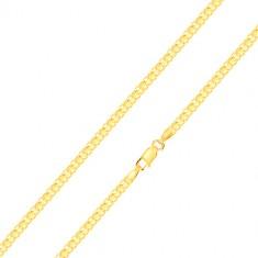 Řetízek ve žlutém 14K zlatě - střídavě napojovaná složená očka, 500 mm
